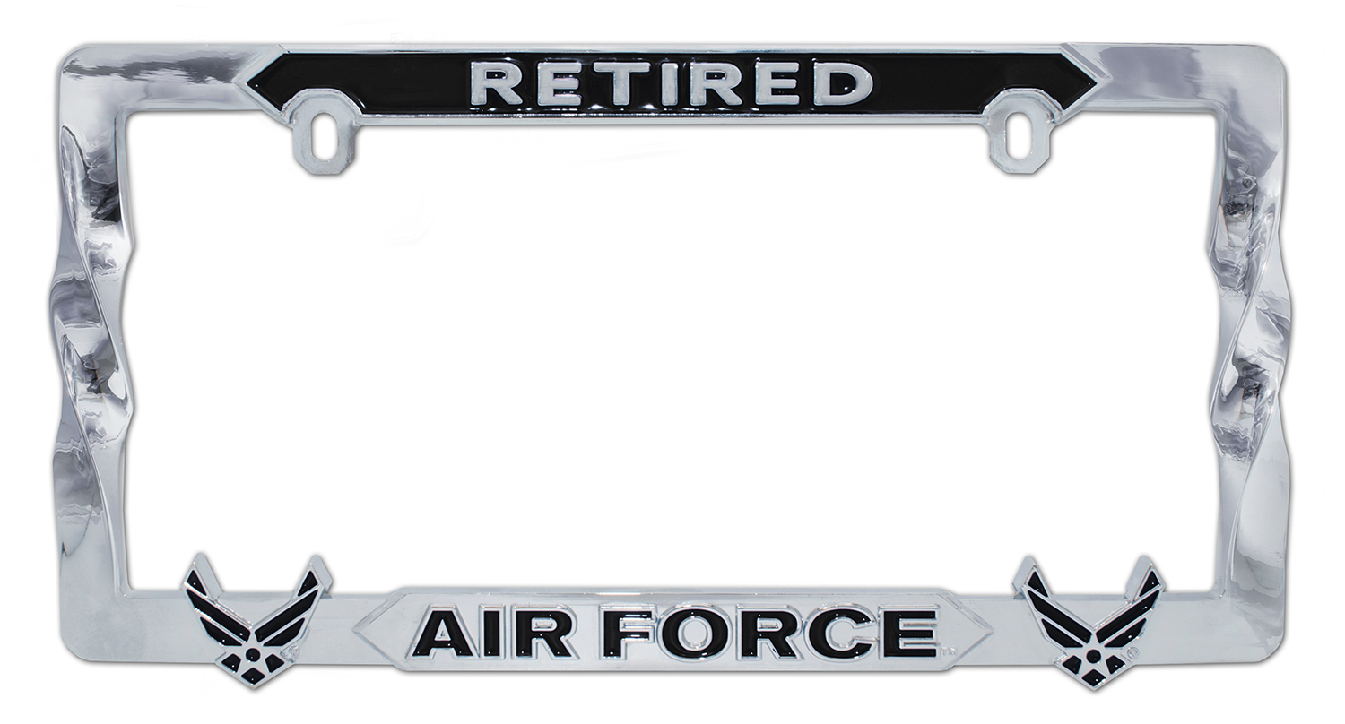 Air Force Retired 3D Black License Plate Frame | Elektroplate