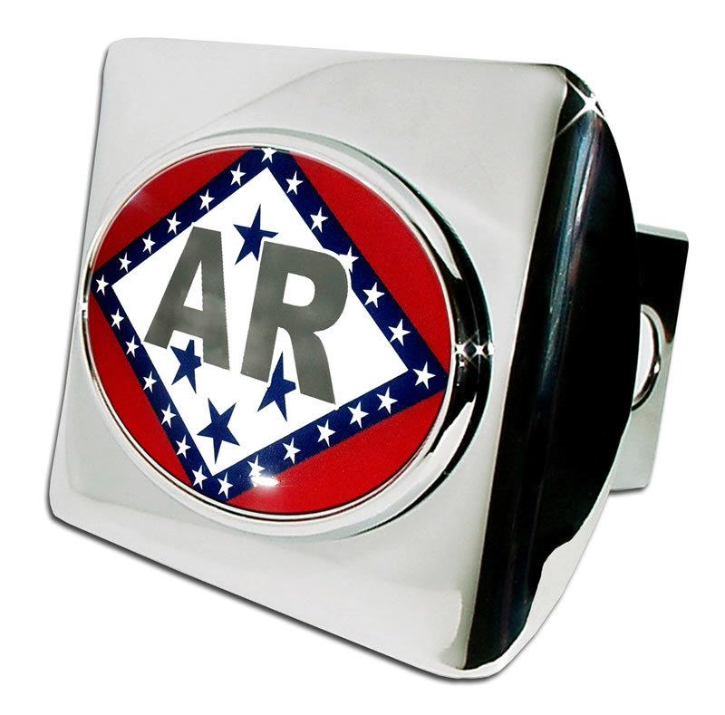Arkansas Flag Emblem On Chrome Hitch Cover Elektroplate