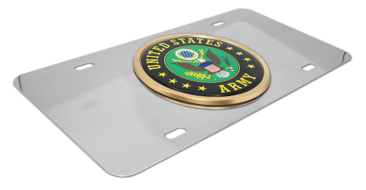 US Army Retired Auto License Plate Chrome Frame USA Eagle
