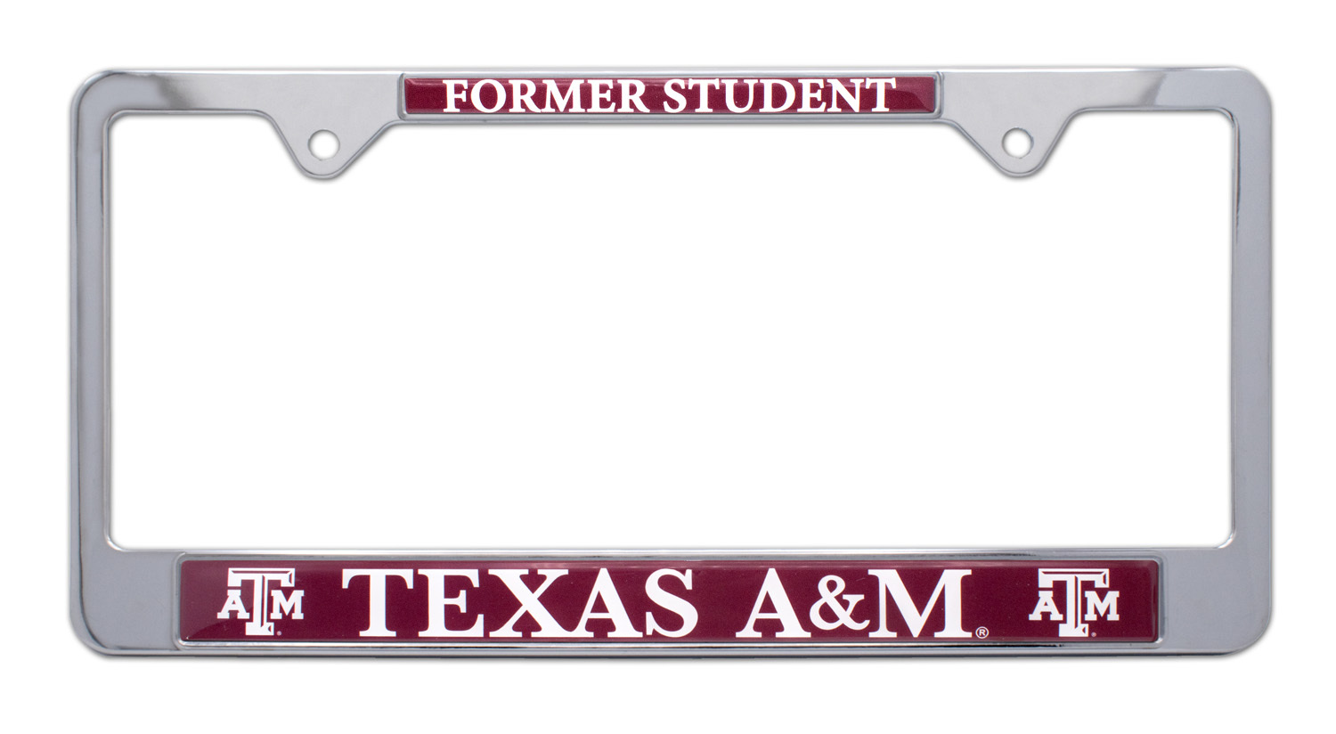 """NCAA Licensed Texas A/&M Aggies Chrome Metal Auto Emblem /""""ATM/"""" with Color"""
