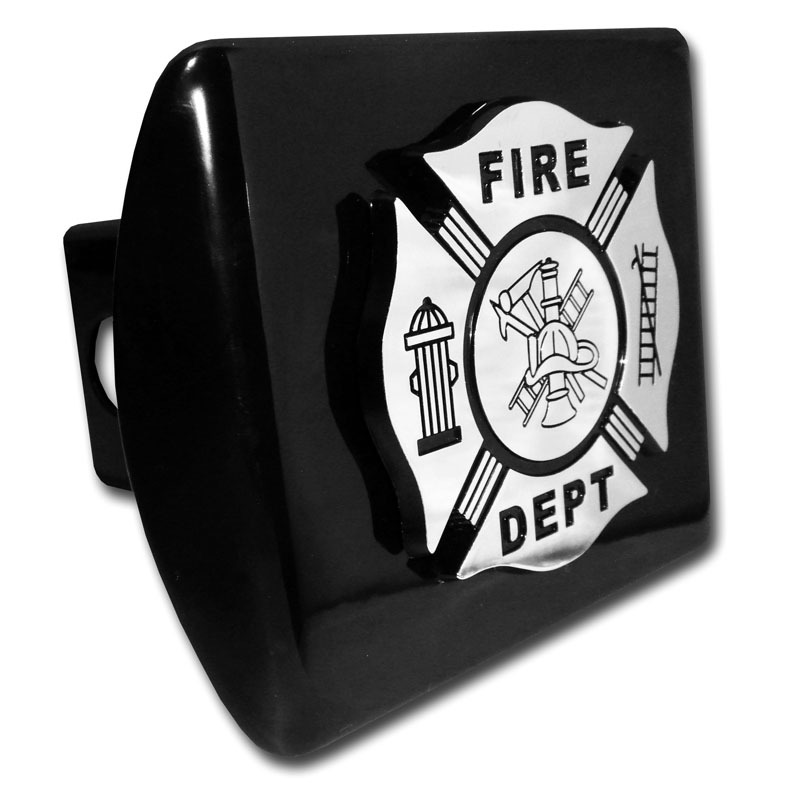 Firefighter Emblem On Black Hitch Cover Elektroplate