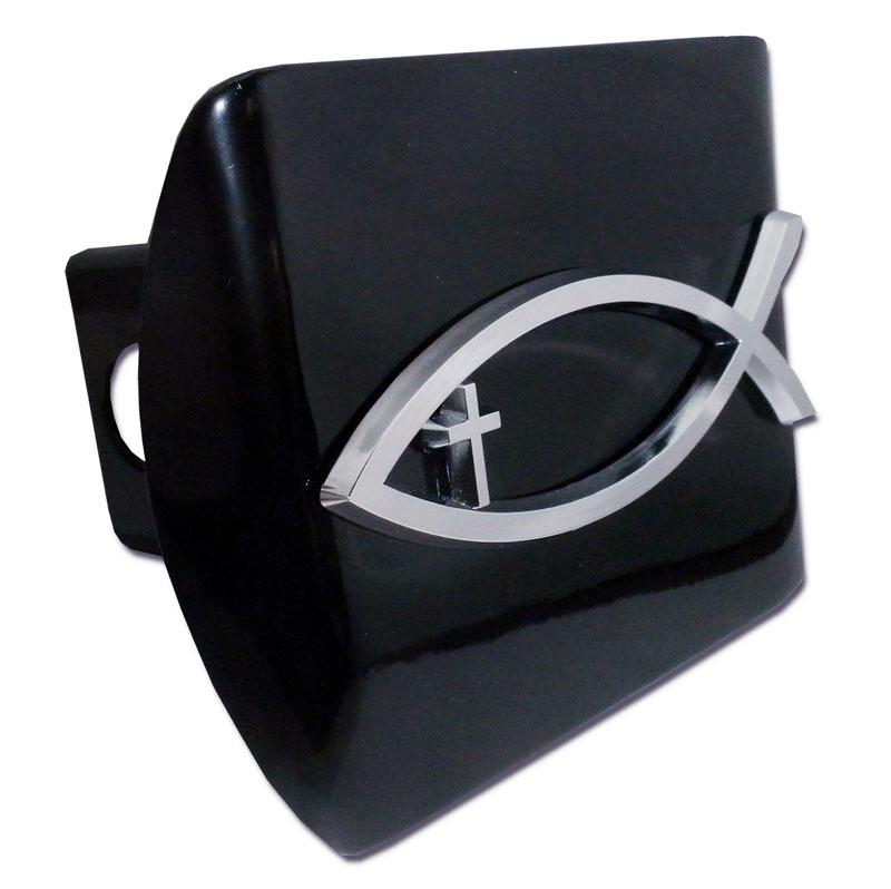 Christian Fish Cross Emblem On Black Hitch Cover