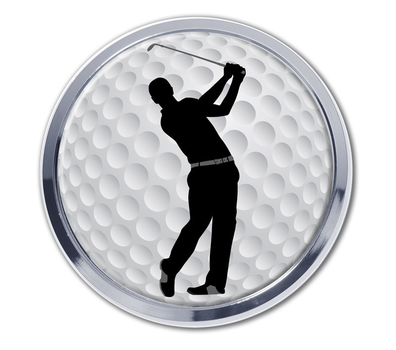 Golf Ball Swing Chrome Emblem Elektroplate