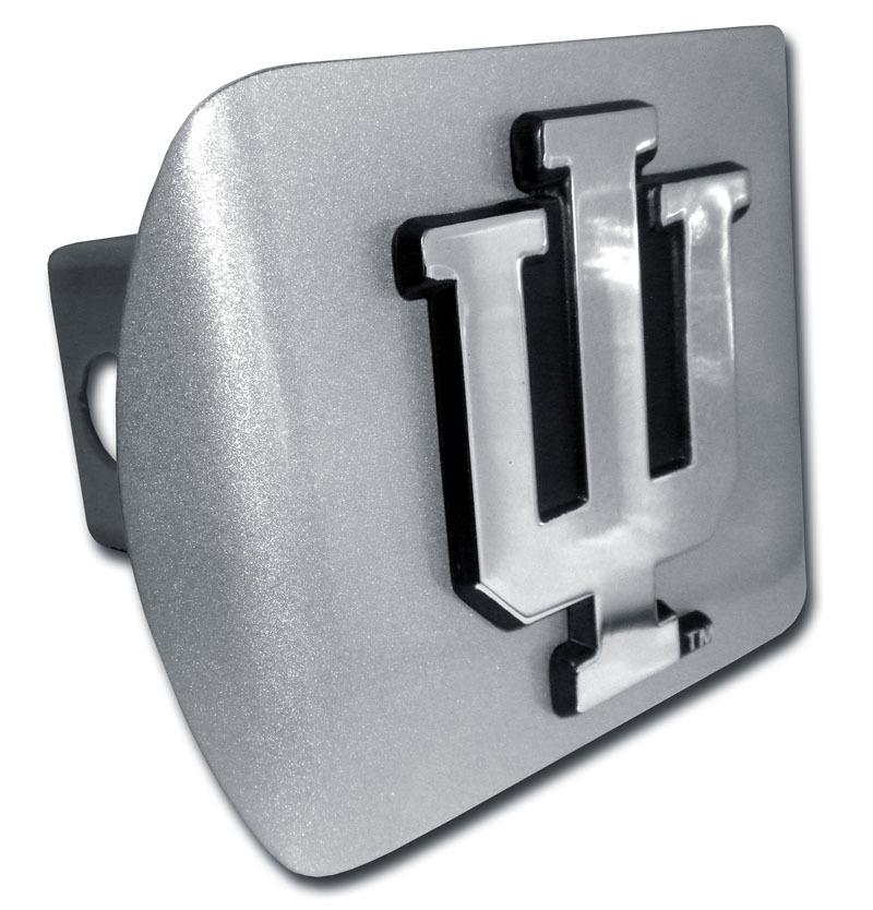 Indiana University Emblem on Brushed Hitch Cover | Elektroplate