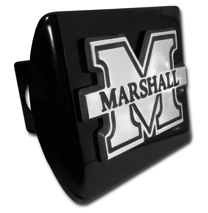 Marshall University Emblem On Black Hitch Cover Elektroplate