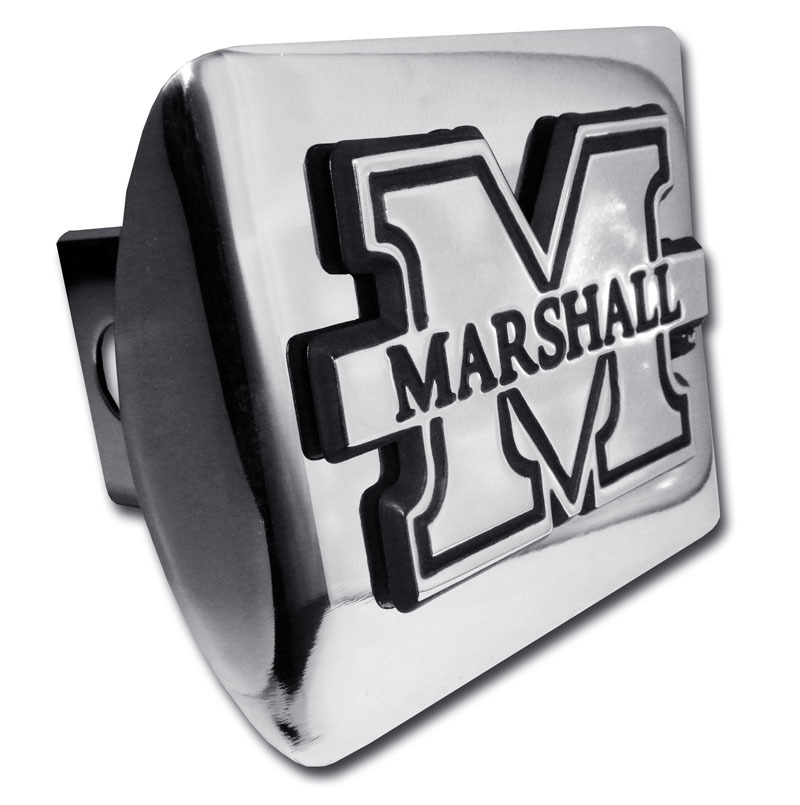 "Marshall University /""Banner/"" Green Shiny Chrome Auto Emblem"