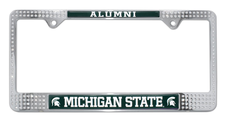 michigan state alumni crystal license plate frame - Michigan State License Plate Frame