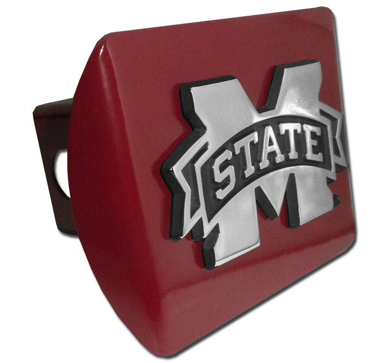 Mississippi State Emblem On Maroon Hitch Cover Elektroplate