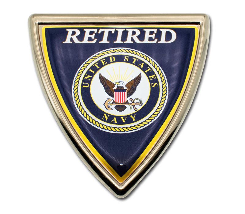 Navy Retired Shield Chrome Emblem Elektroplate