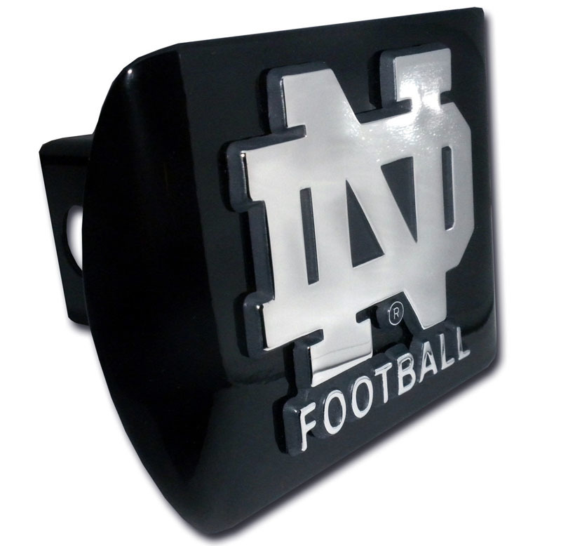 Notre Dame Football Emblem On Black Hitch Cover Elektroplate