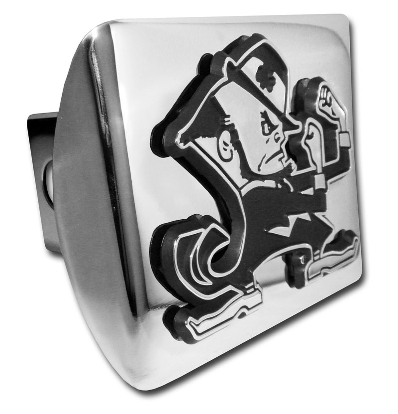 Elektroplate University of Notre Dame Leprechaun w//Color Shiny Chrome Hitch Cover