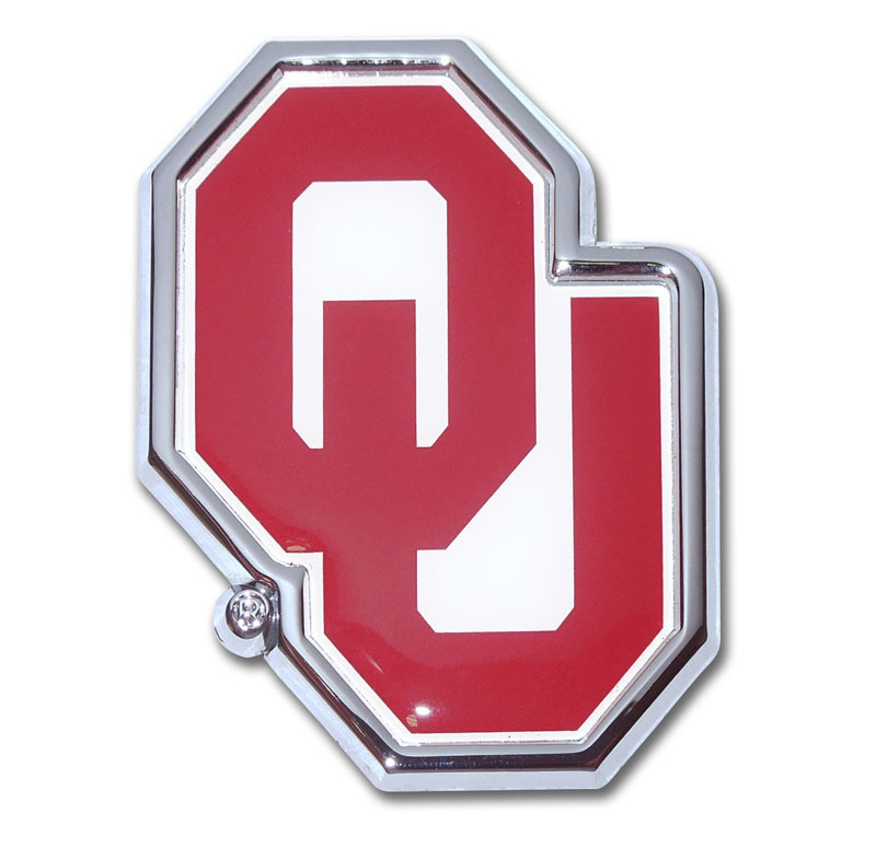 Univ OU with Color of Oklahoma Car Emblem