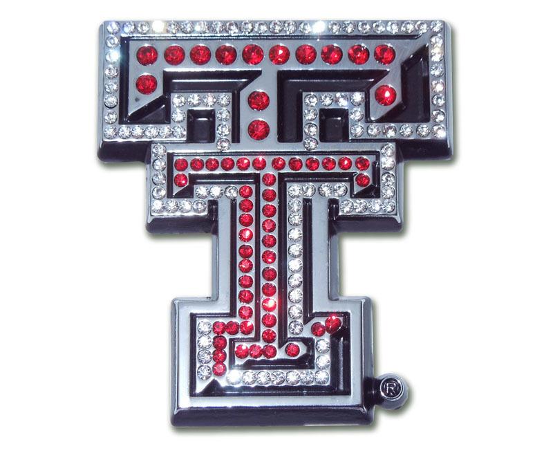 Texas Tech Red Crystal Chrome Emblem Elektroplate