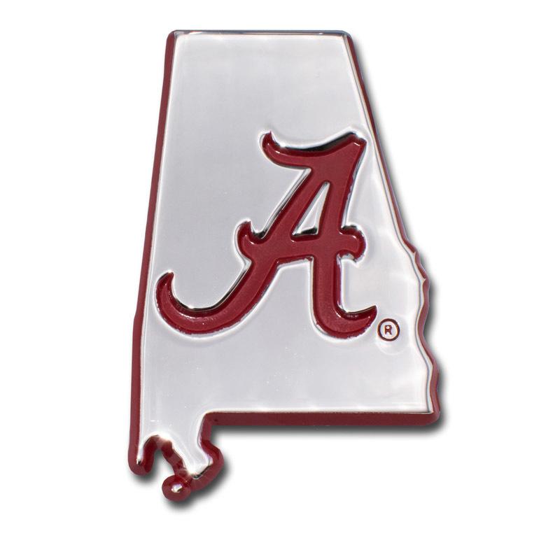 Alabama Red State Shape Chrome Emblem Elektroplate