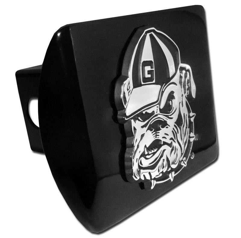 University Of Georgia Bulldog Emblem On Black Hitch Elektroplate