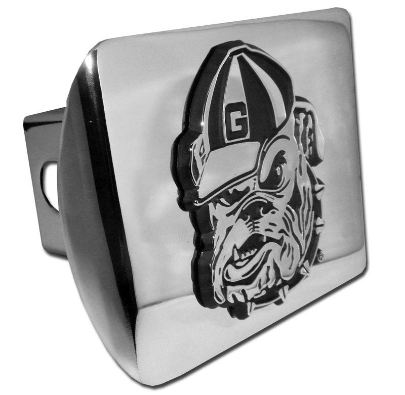 University Of Georgia Bulldog Emblem On Chrome Hitch Elektroplate