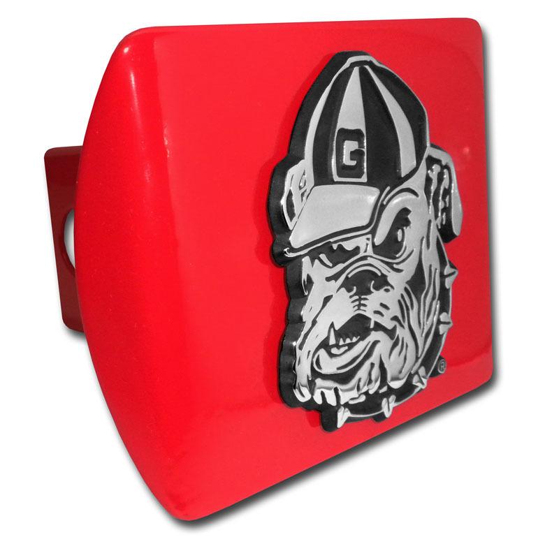 University Of Georgia Bulldog Emblem On Red Hitch Cover Elektroplate