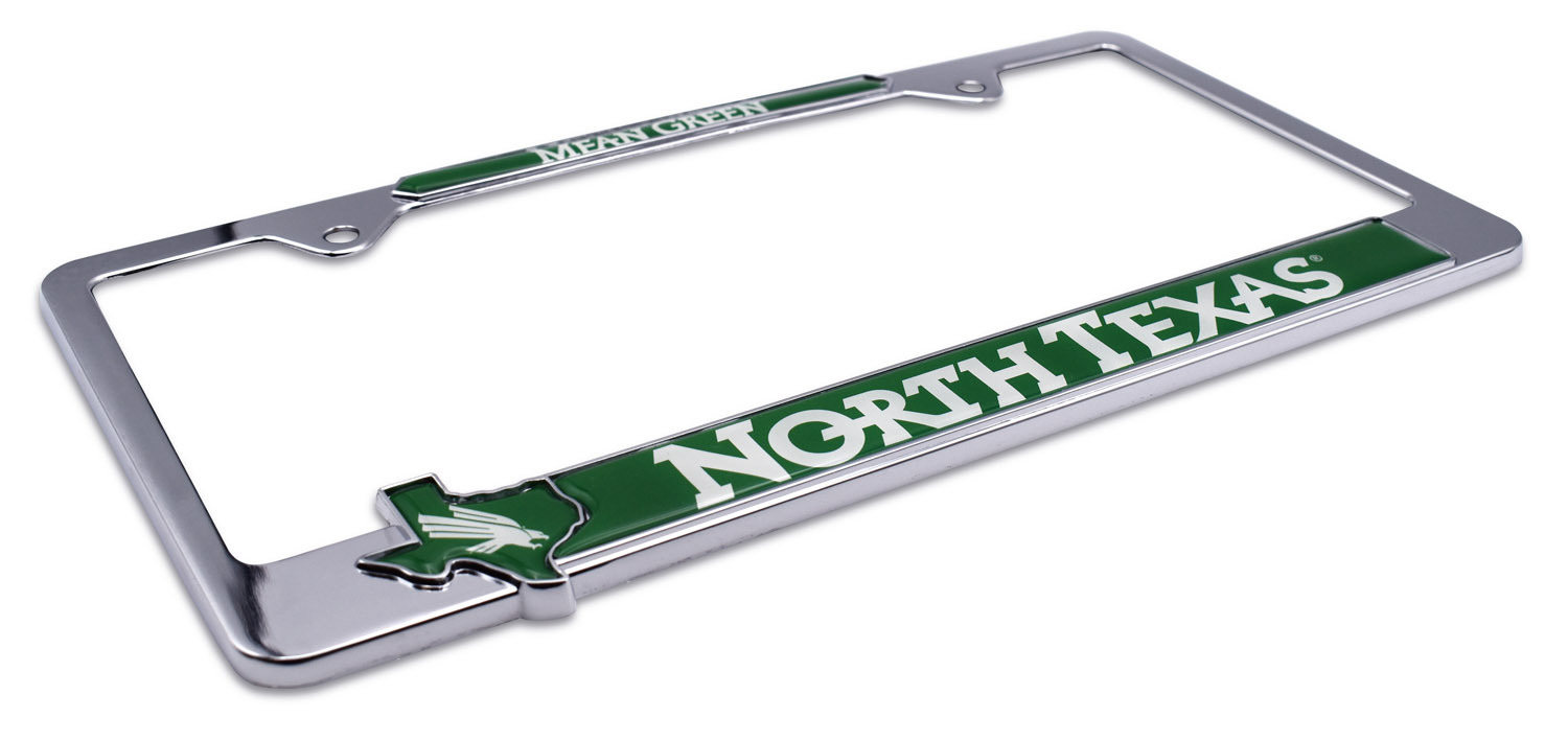 North Texas Mean Green License Plate Frame Elektroplate
