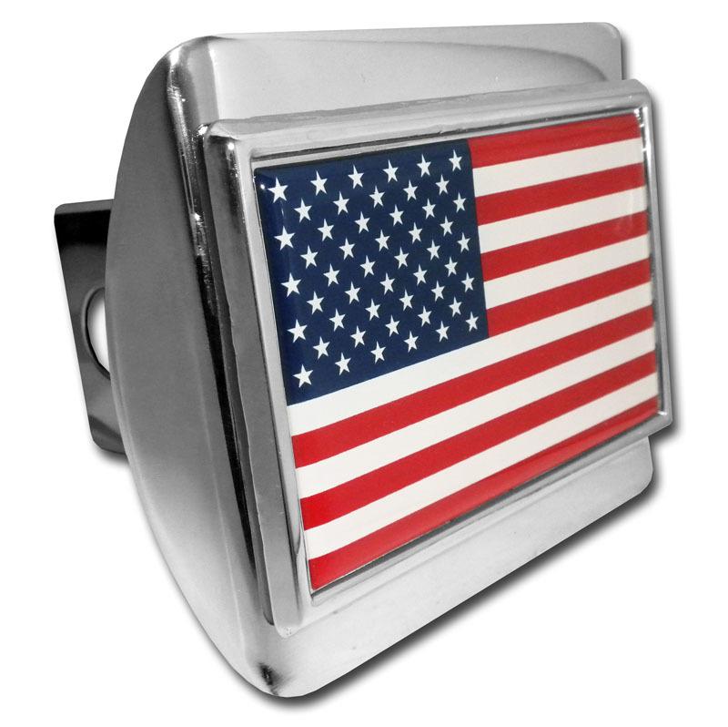 American Flag Chrome Hitch Cover Elektroplate