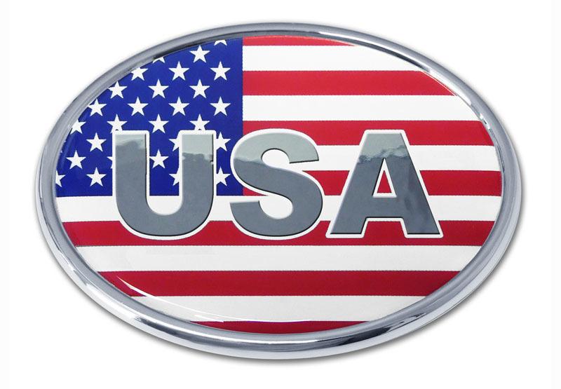 Usa Flag Oval Chrome Emblem Elektroplate