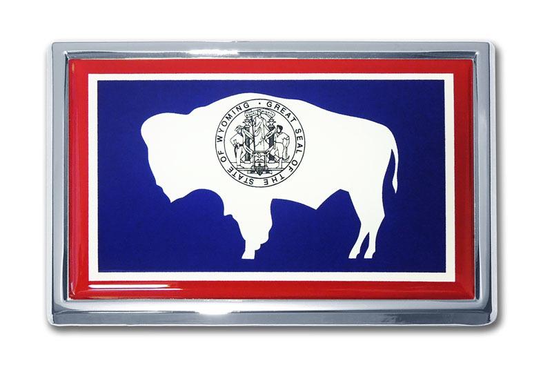 Wyoming Flag Chrome Emblem Elektroplate