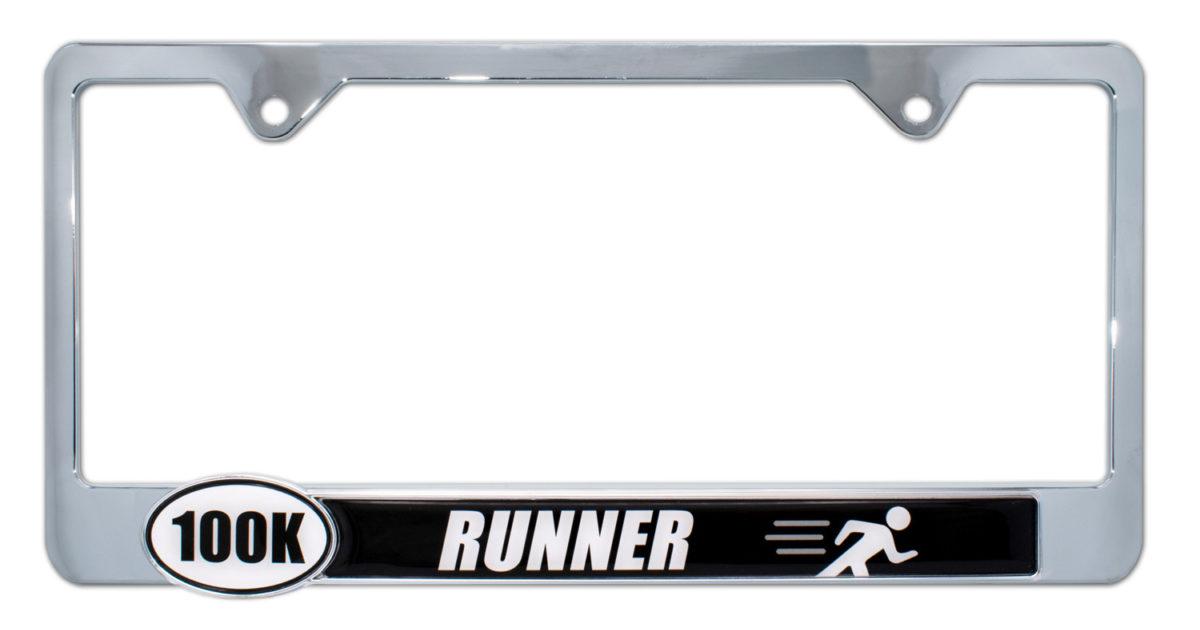 Ultra Marathon 100 K Runner License Plate Frame Elektroplate