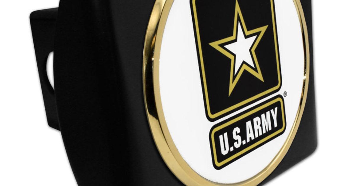 Army Seal Emblem On Black Hitch Cover Elektroplate