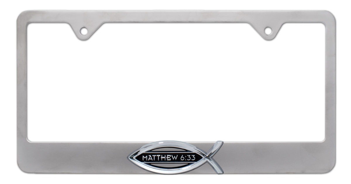 Christian Fish Matthew 6 33 Brushed License Plate Frame