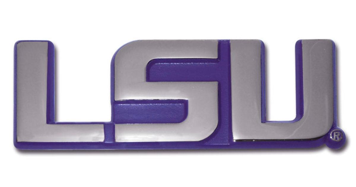 """Louisiana State University /""""LSU/"""" Purple Shiny Chrome Auto Emblem"""