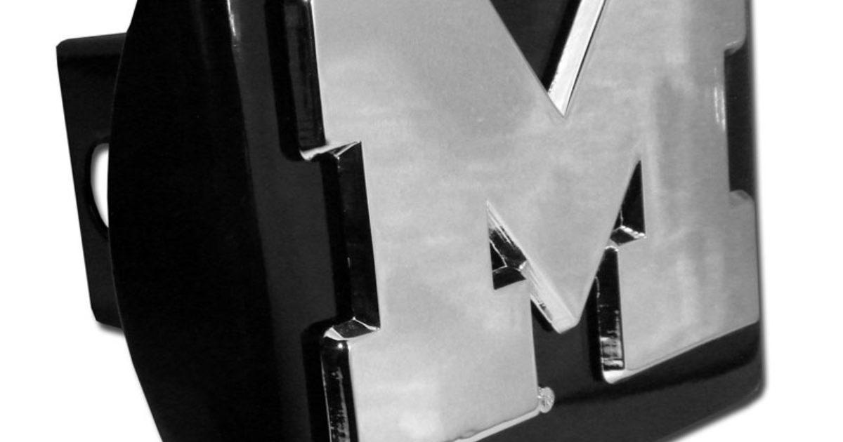 University Of Michigan Emblem On Black Hitch Cover
