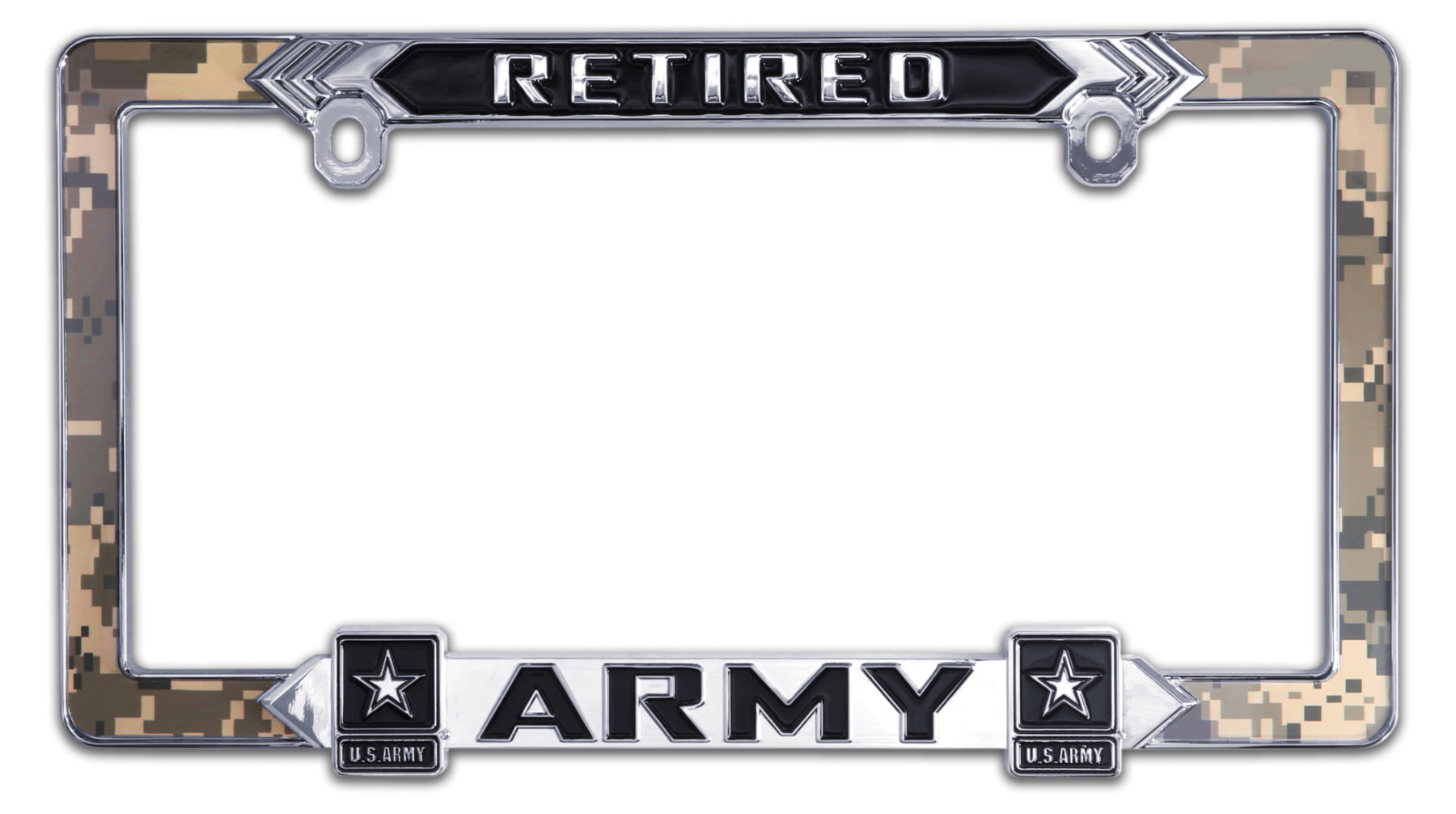 Army Retired 3D License Plate Frame | Elektroplate