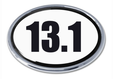 13.1 Half Marathon White Oval Chrome Emblem