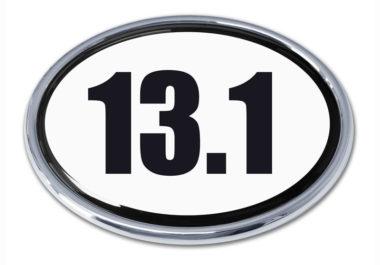 13.1 Half Marathon White Oval Chrome Emblem