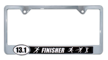 13.1 Half Marathon Finisher Black License Plate Frame