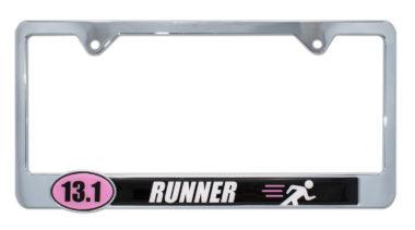 13.1 Half Marathon Runner Pink License Plate Frame image