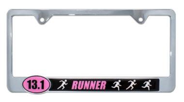 13.1 Half Marathon Runners Pink License Plate Frame image