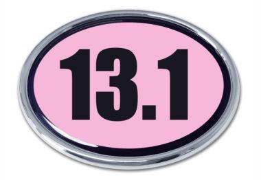 13.1 Half Marathon Pink Oval Chrome Emblem