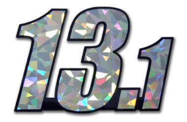 13.1 Half Marathon Silver Reflective Decal image