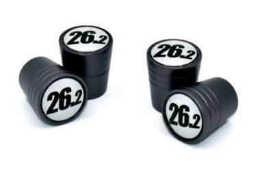 26.2 Black and White Valve Stem Caps - Black Smooth