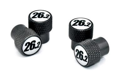 26.2 Black and White Valve Stem Caps - Black Knurling
