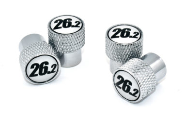 26.2 Black and White Valve Stem Caps - Chrome Knurling image