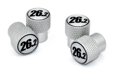 26.2 Black and White Valve Stem Caps - Matte Knurling image