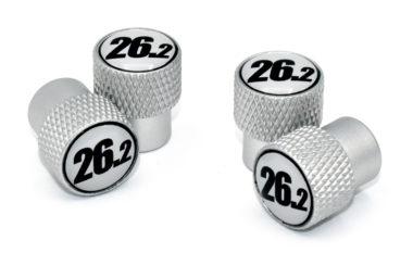 26.2 Black and White Valve Stem Caps - Matte Knurling
