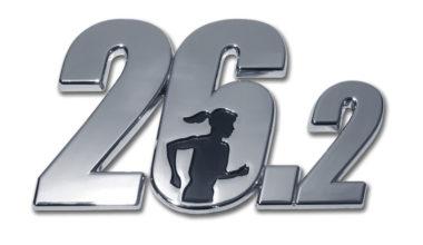 26.2 Marathon Female Runner Chrome Emblem