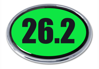 26.2 Marathon Green Oval Chrome Emblem