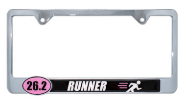 26.2 Marathon Runner Pink License Plate Frame