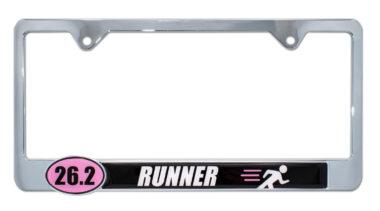 26.2 Marathon Runner Pink License Plate Frame image