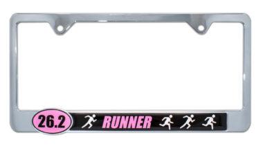 26.2 Marathon Runners Pink License Plate Frame