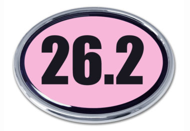 26.2 Marathon Pink Oval Chrome Emblem