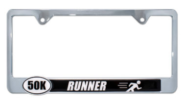 Ultra Marathon 50 k Runner License Plate Frame